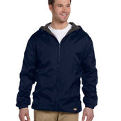 Fleece-Lined Hooded Nylon Jacket