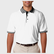 UltraClub Adult White-Body Classic Piqué Polo with Contrast Multi-Stripe Trim