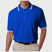 UltraClub Men's Short-Sleeve Whisper Piqué Polo with Tipped Collar and Cuffs