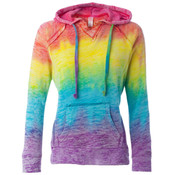 MV Sport Ladies' Courtney Burnout V-Notch Hooded Fleece