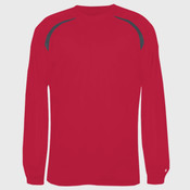 Adult Long-Sleeve Performance Tee with Heather Shoulder Inserts