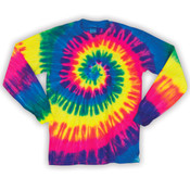 Dyenomite Adult Neon Spiral Rainbow Pigment-Dyed Long-Sleeved Tee