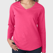 LA T Ladies Lightweight French Terry V-Neck Pullover